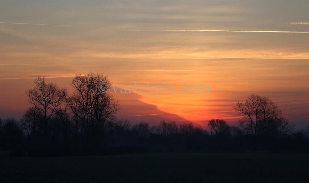 01 December 2016. Favi&egrave;res, France.<br /> Here comes the sun. Sunrise beyond a stand of trees.<br /> Photo; Charlie Varley/varleypix.com