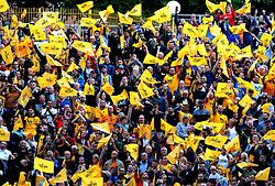 Wolverhampton Wanderers fans waves their flags ahead of kick-off  - Mandatory by-line: Nizaam Jones/JMP - 11/08/2018/ - FOOTBALL -Molineux  - Wolverhampton, England - Wolverhampton Wanderers v Everton - Premier League