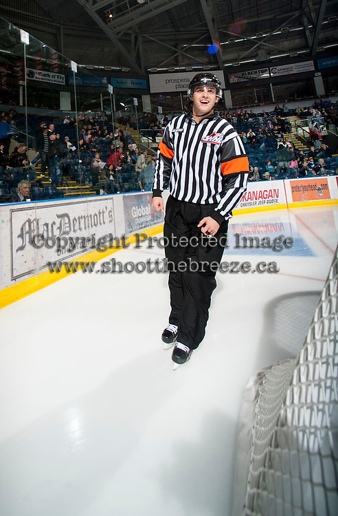 KELOWNA, CANADA - OCTOBER 18:  Referee Steve Papp skates on the ice as the Prince George Cougars visit the Kelowna Rockets on October 18, 2012 at Prospera Place in Kelowna, British Columbia, Canada (Photo by Marissa Baecker/Shoot the Breeze) *** Local Caption ***