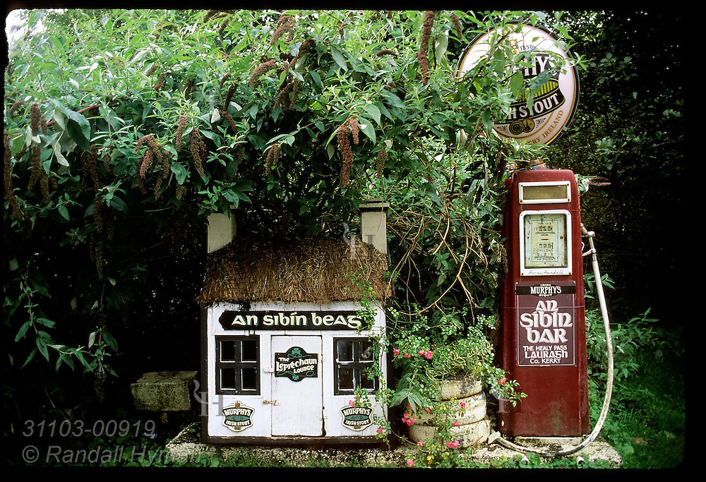 Old-time gas pump and leprechaun house nestle in bushes at north terminus of Healy Pass road on the Beara Peninsula, Ireland.