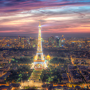 Once the sun has set, thousands of shimmering lights turn on and the Eiffel Tower begins to twinkle.
