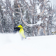 Forrest Jillson skiing backcountry powder in the Tetons.