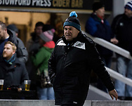 Glasgow Warriors' Head Coach Dave Rennie during the pre match warm up<br /> <br /> Photographer Simon King/Replay Images<br /> <br /> Guinness PRO14 Round 14 - Dragons v Glasgow Warriors - Friday 9th February 2018 - Rodney Parade - Newport<br /> <br /> World Copyright &copy; Replay Images . All rights reserved. info@replayimages.co.uk - http://replayimages.co.uk