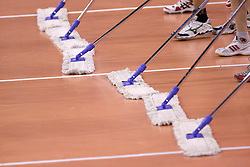 Floor cleaners at 8th final volleyball match of CEV Indesit Champions League Men 2008/2009 between ACH Volley Bled (SLO) and Zenit Kazan (RUS), on February 12, 2009 in Hall Tivoli, Ljubljana, Slovenia. (Photo by Vid Ponikvar / Sportida)