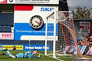 GOAL Bristol Rovers goalkeeper Jack Bonham (13)  looks on as Luton Town midfielder Andrew Shinnie (11) scores a goal 1-0 during the EFL Sky Bet League 1 match between Luton Town and Bristol Rovers at Kenilworth Road, Luton, England on 15 September 2018.