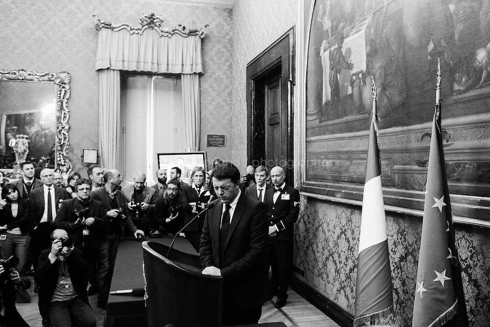 ROME, ITALY - 19 February 2014:  Italian Prime Minister-designate Matteo Renz holds a press conference after consultations with the leaders of Italian parties at the Parliament in Rome, Italy, on on February 19th 2014.