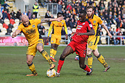 Enzio Boldewijn of Crawley Town and David Pipe of Newport County during the EFL Sky Bet League 2 match between Newport County and Crawley Town at Rodney Parade, Newport, Wales on 1 April 2017. Photo by Andrew Lewis.