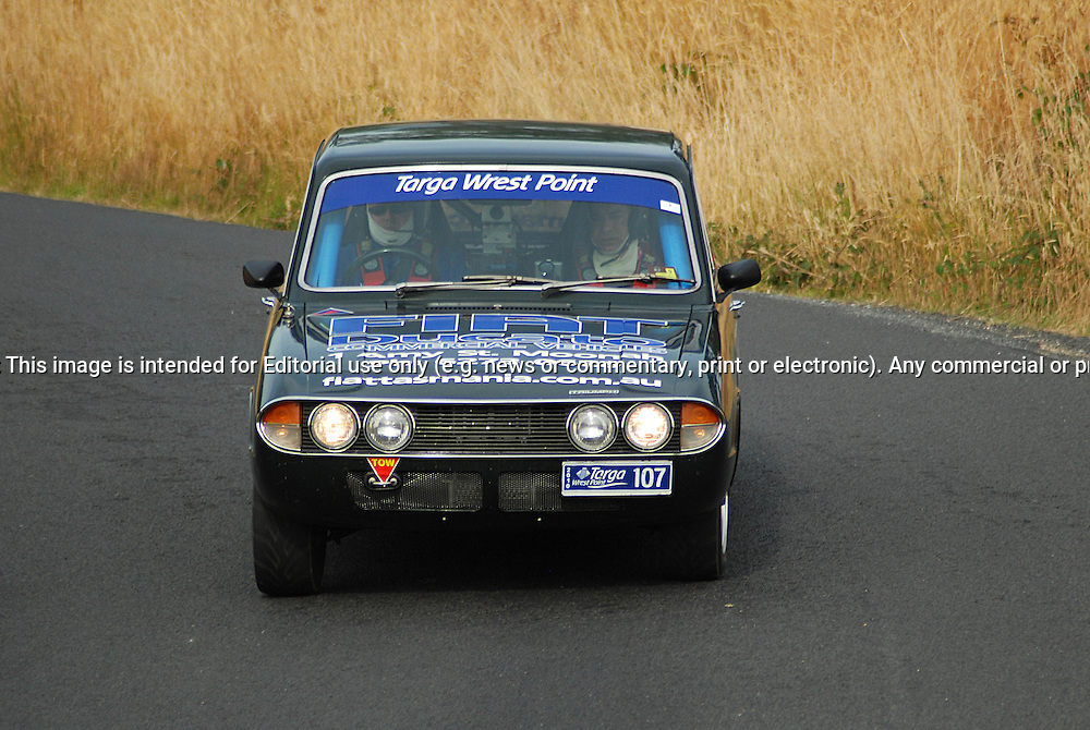 107 Monty Reading & Matthew McGee..1971 Triumph 2.5PI.Day 2.Targa Wrest Point 2010.Southern Tasmania.31st of January 2010.(C) Sarah Biggin.Use information: This image is intended for Editorial use only (e.g. news or commentary, print or electronic). Any commercial or promotional use requires additional clearance.