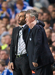LONDON, ENGLAND - Wednesday, May 6, 2009: Chelsea's manager Guus Hiddink and Barcelona's Pep Guardiola during the UEFA Champions League Semi-Final 2nd Leg match at Stamford Bridge. (Photo by David Rawcliffe/Propaganda)