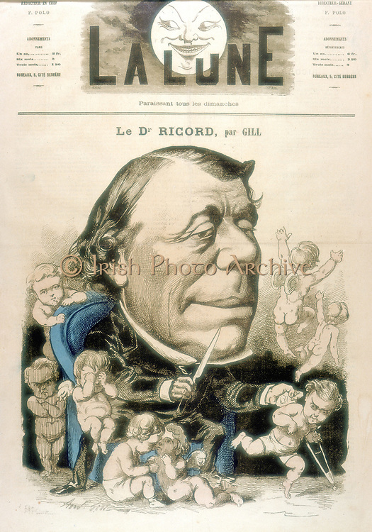 Philippe Rcord (1799-1889) French venereologist. Described by Oliver Wendell Holmes as 'the Voltaire of pelvic literature….'. Cartoon by Andre Gill for 'La Lune', Paris, 10 October 1867.