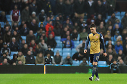 Mesut Ozil of Arsenal cuts a dejected figure as he slowly walks off the pitch after being substituted  - Mandatory byline: Dougie Allward/JMP - 13/12/2015 - Football - Villa Park - Birmingham, England - Aston Villa v Arsenal - Barclays Premier League