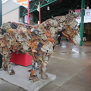 A statue of a horse made from baseball mitts at the Rochester Red Wings V The Scranton/Wilkes-Barre RailRiders, Minor League ball game at Frontier Field, Rochester, New York State. USA. 16th April 2013. Photo Tim Clayton