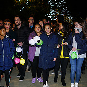 London, UK. 4th November 2017. East Village is set to host 'Theatre of Light'  event in Victory Park, E20 parade attendees join on their journey by an array of LED drummers, poi artists, jugglers and stilt walkers an incredible immersive, light and music show.