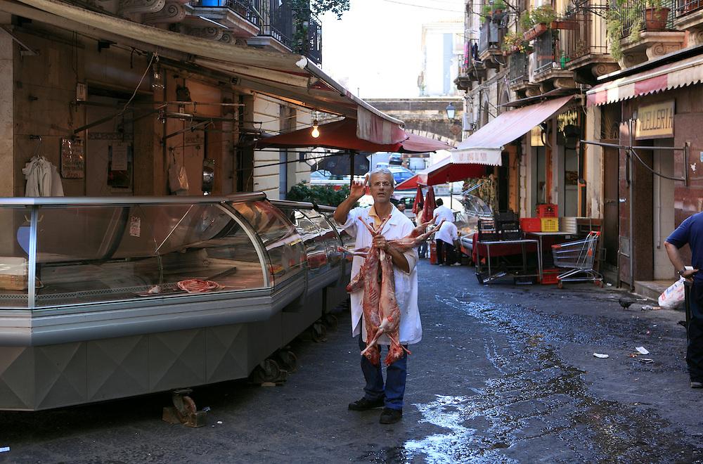 Street market scene, Catania, Sicily.