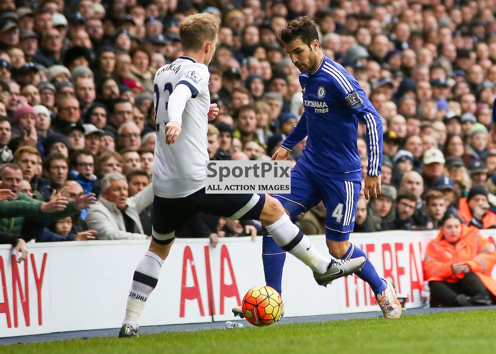 Cesc Fabregas nutmegs  Christian Eriksen During Tottenham Hotspur vs Chelsea on Sunday the 29th November 2015.