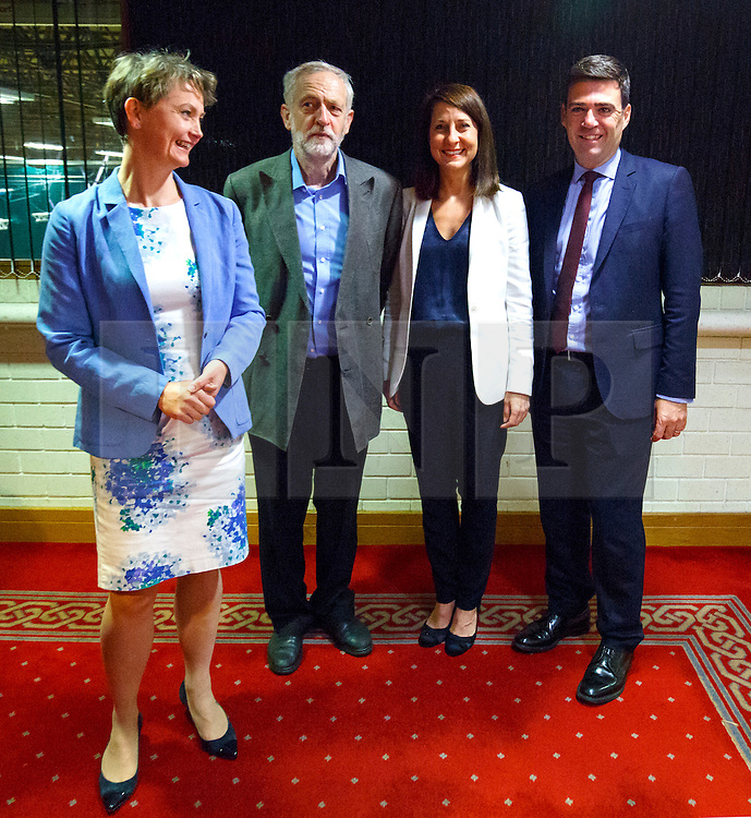 © Licensed to London News Pictures. 25/08/2015. Stevenage, UK. Labour Party leader candidates Yvette Cooper, Jeremy Corbyn, Liz Kendall and Andy Burnham attending a husting for Radio 5 at Stevenage Arts & Leisure Centre in Stevenage on Tuesday, 25 August 2015. Photo credit: Tolga Akmen/LNP