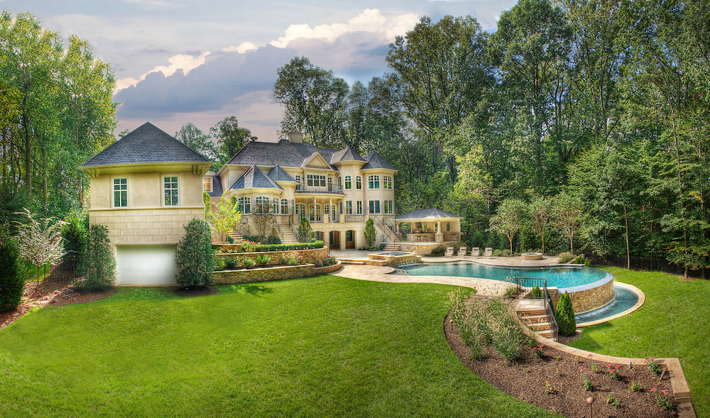 8541 Horseshoe Ln Potomac, MD Lewis Aquatech Pool House rear exterior Deck patio Verandah Porch Pool pool house