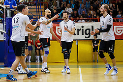 Maxon Guilherme Pereira, Brulec Jan, Stemberger Zupan Andrej of Calcit Volley during volleyball match between Calcit Volley and ACH Volley in Final of 1. DOL Slovenian Man national Championship 2016/17 on 24th of April, 2017 in Kamnik, Slovenija.  Photo by Grega Valancic / Sportida