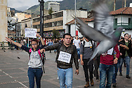 Bogota, Cundinamarca, Colombia - 03.10.2016        <br /> <br /> Spontaneous peace protest of a few hundred students in Bogota on the day after the failed Colombian peace referendum. 50,22% voted against the negotiated peace contract between the marxist guerrilla FARC and the Colombian government.<br /> <br /> Spontaner Friedensprotest von einigen hundert Studenten in Bogota am Tag nach dem gescheiterten kolumbianischen Friedensreferendum. 50,22% stimmten gegen ausgehandelten Friedensvertrag zwischen der marxistischen FARC Guerilla und der kolumbianischen Regierung.<br />  <br /> Photo: Bjoern Kietzmann