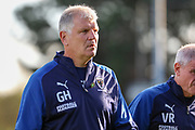 AFC Wimbledon temporary manager coach Glyn Hodges walking off the pitch during the EFL Sky Bet League 1 match between AFC Wimbledon and Portsmouth at the Cherry Red Records Stadium, Kingston, England on 19 October 2019.