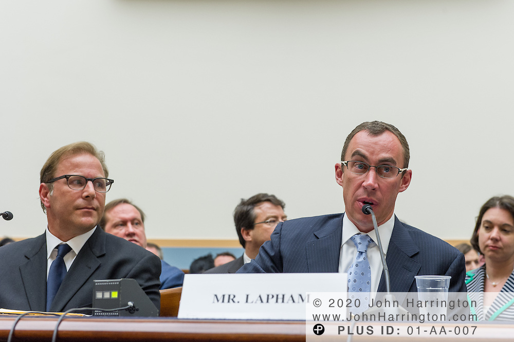 """John Lapham, Senior Vice President and General Counsel, Getty Images, Inc. (right) delivers his testimony as to the U.S. House of Representatives Committee on the Judiciary, Subcommittee on Courts, Intellectual Property and the Internet on the subject """"Innovation in America: The Role of Copyrights"""", Thursday July 25, 2013 on Capitol Hill in Washington DC."""