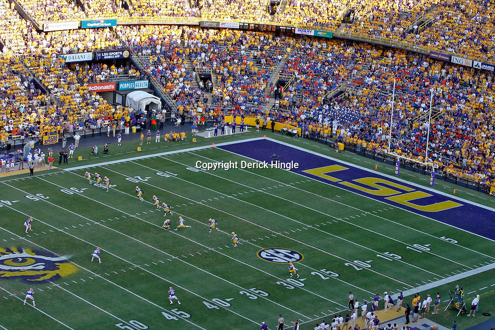 October 8, 2011; Baton Rouge, LA, USA;  A general view as the LSU Tigers kickoff to the Florida Gators during the fourth quarter at Tiger Stadium. LSU defeated Florida 41-11. Mandatory Credit: Derick E. Hingle-US PRESSWIRE / © Derick E. Hingle 2011