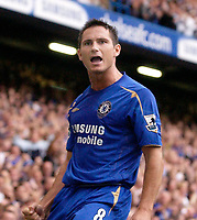 Photo: Daniel Hambury.<br />Chelsea v Aston VIlla. The Barclays Premiership.<br />24/09/2005.<br />Chelsea's Freank Lampard celebrates scoring the second gaol.