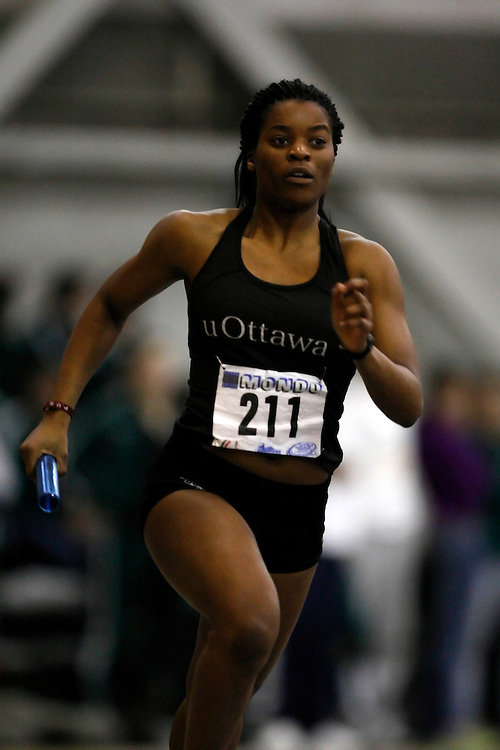Windsor, Ontario ---14/03/09--- Christiane Lela of  the University of Ottawa competes in the 4x400m relay at the CIS track and field championships in Windsor, Ontario, March 14, 2009..Claus Andersen Mundo Sport Images