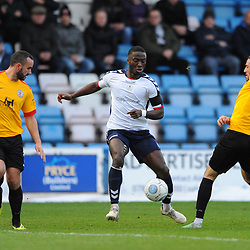 TELFORD COPYRIGHT MIKE SHERIDAN 1/12/2018 - Dan Udoh of AFC Telford is tackled by Luca Havern (formerly of AFC Telford United) during the Vanarama Conference North fixture between AFC Telford United and Bradford Park Avenue AFC.