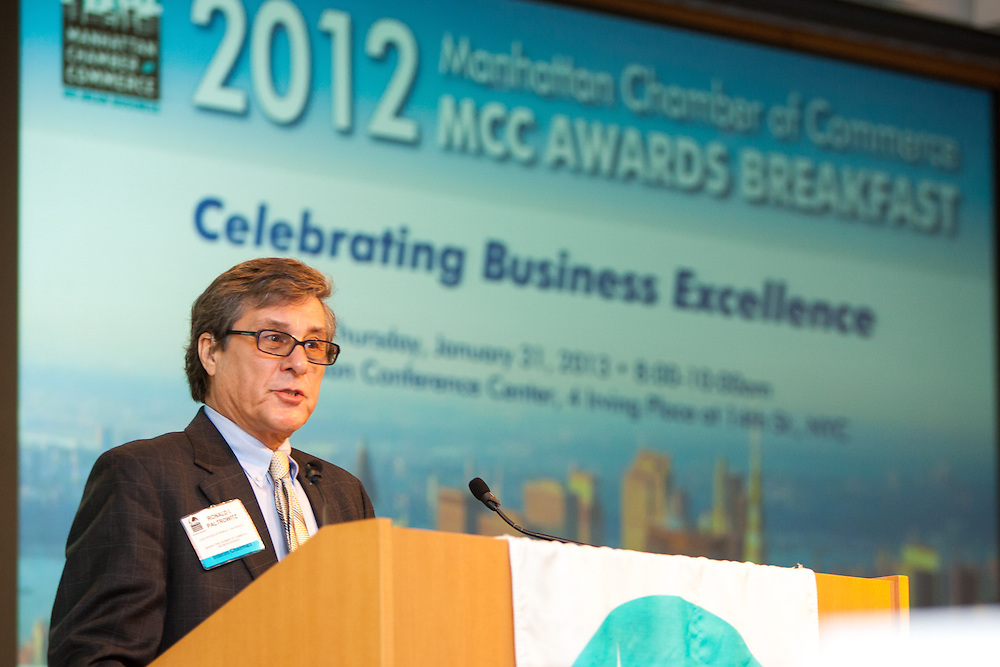 MCC Chairman Ronald Paltrowitz welcomes guests to the Manhattan Chamber of Commerce's 2012 Awards Breakfast celebrated business excellence by recognizing outstanding leaders. The awards were held at Con Edison's Conference Center on January 31, 2013.