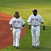 Manny Ramirez and David Ortiz prior to baseball game at Boston's Fenway Park, July 13, 2006.