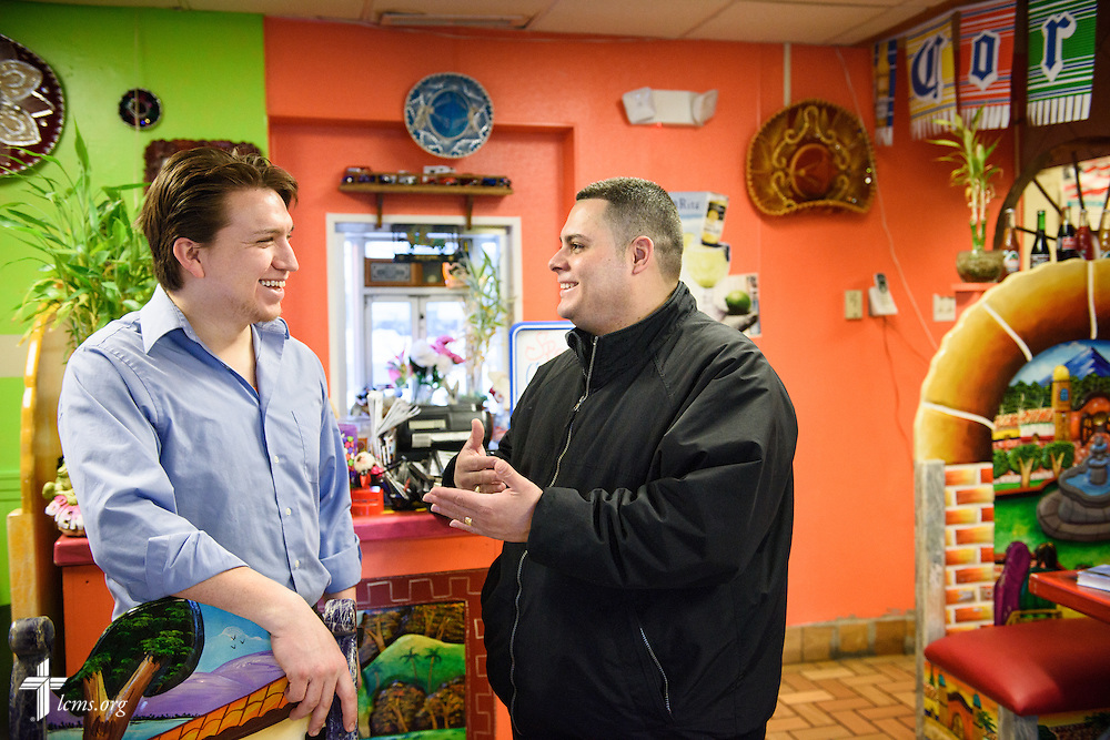 Vicar David Blas, missionary-at-large at LCMS Sheboygan County Hispanic Outreach and St. John's Lutheran Church of Plymouth, Wis., chats with restaurant operator Hugo Angulo during a visit to the restaurant on Thursday, Jan. 28, 2016, in Plymouth. LCMS Communications/Erik M. Lunsford