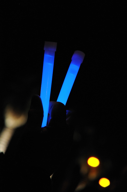 Glow sticks light up the University of Arizona Mall during the January 8, 2102 remembrance of the victims of the shootings that happened exactly one year before. Event photography by Martha Retallick.