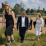London, UK, 18th June 2017. The Mayor of London Sadiq Khan attends The Great Get Together cheered by warm local people want to have selfies with the Mayor on 18th June 2017 at North of the Olympic Park, London, UK.