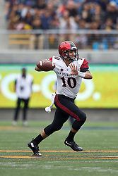 BERKELEY, CA - SEPTEMBER 12:  Quarterback Christian Chapman #10 of the San Diego State Aztecs passes against the California Golden Bears during the second quarter at California Memorial Stadium on September 12, 2015 in Berkeley, California. (Photo by Jason O. Watson/Getty Images) *** Local Caption *** Christian Chapman