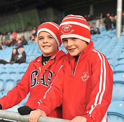 Ballintubber fans Conor and William Hoban at McHale park on sunday last.<br /> Pic Conor Mckeown
