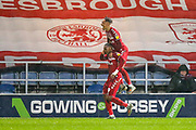 GOAL 2-2 Middlesbrough forward Britt Assombalonga (9) scores and celebrates with Middlesbrough midfielder Marcus Tavernier (7) during the EFL Sky Bet Championship match between Queens Park Rangers and Middlesbrough at the Kiyan Prince Foundation Stadium, London, England on 9 November 2019.