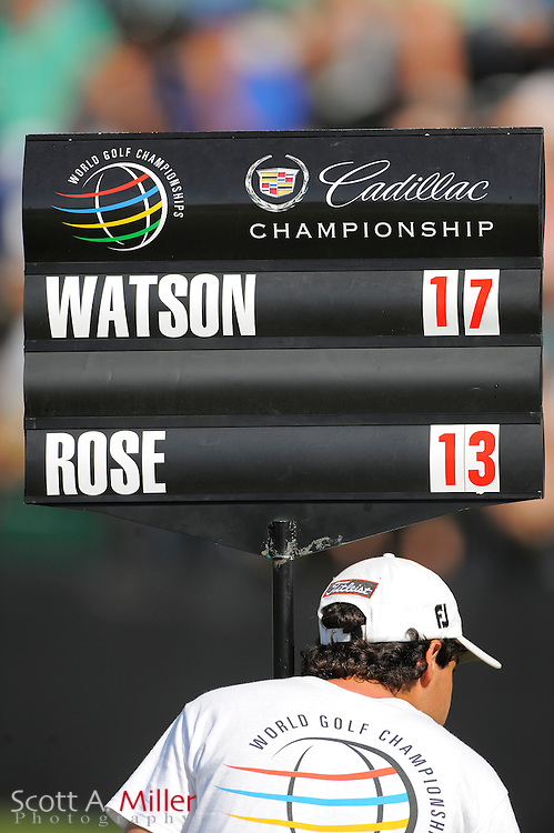 Close up of the standard with Bubba Watson's and Justin Rose's scores during the third round of the World Golf Championship Cadillac Championship on the TPC Blue Monster Course at Doral Golf Resort And Spa on March 10, 2012 in Doral, Fla. ..©2012 Scott A. Miller.