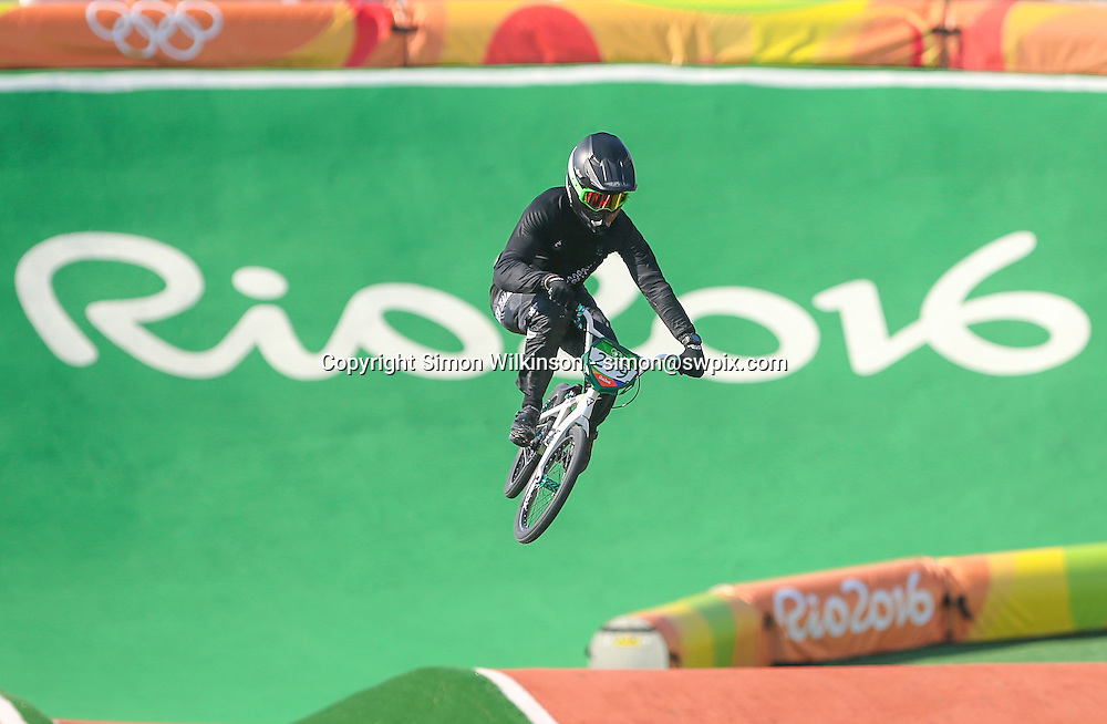 Picture by Alex Whitehead/SWpix.com - 17/08/2016 - 2016 Rio Olympic Games - BMX - Olympic BMX Centre, Rio de Janeiro, Brazil - New Zealand's Trent Jones in action during the Men's Seeding Run.