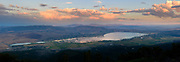 Ultra high resolution panoramic image of the sunset over Washoe Lake in Washoe Valley south of Reno, Nevada as seen from the top of Mt. Rose.