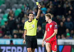 Referee Deniz Aytekin of Germany with yellow card for Eric Dier of England during football match between National teams of Slovenia and England in Round #3 of FIFA World Cup Russia 2018 Qualifier Group F, on October 11, 2016 in SRC Stozice, Ljubljana, Slovenia. Photo by Vid Ponikvar / Sportida