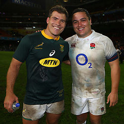 Schalk Brits of South Africa with Jamie George of England during the 2018 Castle Lager Incoming Series 3rd Test match between South Africa and England at Newlands Rugby Stadium,Cape Town,South Africa. 23,06,2018 Photo by (Steve Haag JMP)