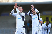 Millwall's Shaun Williams and Millwall's Jed Wallace celebrate the win during the EFL Sky Bet Championship match between Burton Albion and Millwall at the Pirelli Stadium, Burton upon Trent, England on 24 February 2018. Picture by John Potts.