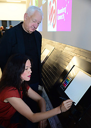 Tate and Bloomberg launch New Creative Space. <br /> -Michael Craig-Martin , Gayle Chong Kwan.<br /> Tate's ambitious digital strategy was highlighted today at the launch of a pioneering new project called Bloomberg Connects. This will enable members of the public to show their own interpretation of the art at Tate Modern. Seventy-five screens in total, over half cascading in a spine on the walls throughout the building, will display visitors ideas and comments. A digital drawing bar will allow people to respond visually to their visit and see large-scale versions of their art works projected on the wall. Tate collection will be used to stimulate a conversation between Tate and its visitors by using the Bloomberg-supported digital space as a fresh canvas for creativity. Artists Michael Craig-Martin and Gayle Chong Kwan were present with Tate Director Nicholas Serota at Launch of this major in-gallery project at Tate Modern, London, United Kingdom. Thursday, 19th September 2013. Picture by Nils Jorgensen / i-Images