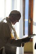 Pope Francis has met Martin Schulz, president of European Parliament, in his private library.<br /> &copy;Giuseppe Giglia