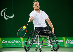 Stephane Houdet (out of frame) and Nicolas Peifer of France play against Alfie Hewett (out of frame) and Gordon Reid (out of frame) of the UK in the Tennis Men's Doubles Gold Medal Match during Day 8 of the Rio 2016 Summer Paralympics Games on September 15, 2016 in Olympic Tennis Centre, Rio de Janeiro, Brazil. Photo by Vid Ponikvar / Sportida