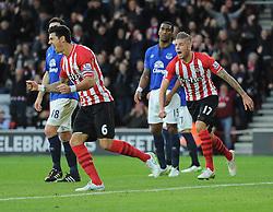 Southampton's Jose Fonte celebrates Everton's Romelu Lukaku own goal. - Photo mandatory by-line: Alex James/JMP - Mobile: 07966 386802 - 20/12/2014 - SPORT - Football - Southampton  - St Mary's Stadium - Southampton  v Everton - Football