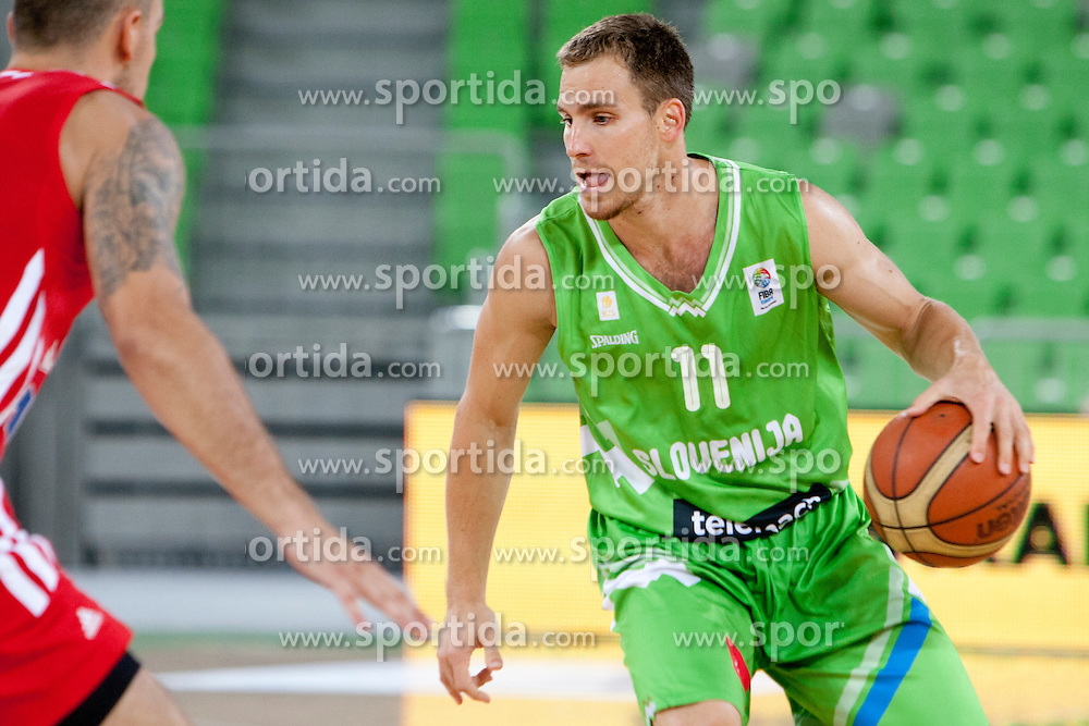 Ziga Zagorc of Slovenia during friendly basketball match between National teams of Slovenia and Croatia of Adecco Ex-Yu Cup 2012 as part of exhibition games 2012, on August 4, 2012, in Arena Stozice, Ljubljana, Slovenia. (Photo by Matic Klansek Velej / Sportida)