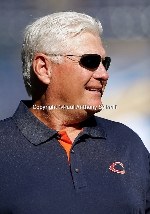Chicago Bears Offensive Coordinator Mike Martz smiles as he watches pregame warmups during a NFL week 1 preseason football game against the San Diego Chargers, Saturday, August 14, 2010 in San Diego, California. The Chargers won the game 25-10. (©Paul Anthony Spinelli)