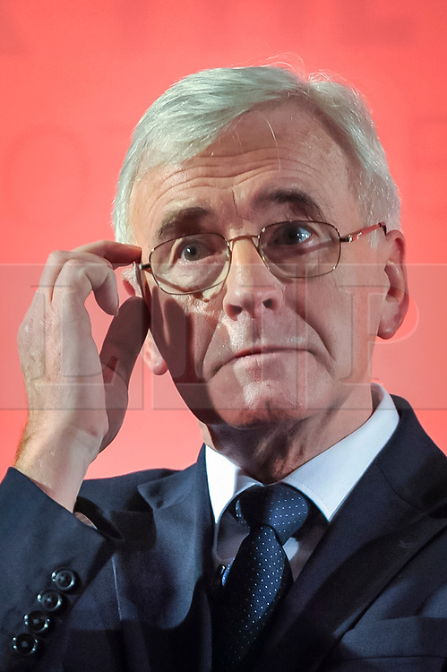 © Licensed to London News Pictures. 09/03/2018. LONDON, UK.  John McDonnell MP, Labour's Shadow Chancellor, makes a Pre-Spring Statement Speech in Westminster ahead of Chancellor Philip Hammond delivering the Spring Statement next week. Photo credit: Stephen Chung/LNP